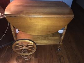 Vintage serving cart with foldable sides