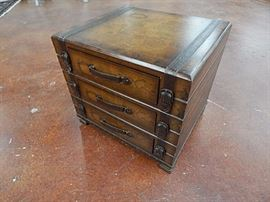 Suitcase three drawer side table