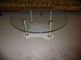 ROUND GLASS TOP/MARBLE BASE COFFEE TABLE