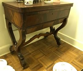 2 drawer Flame Mahogany Console Table attributed to Meeks