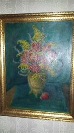 Edith Lotterhos Floral Oil on Board.  Edith was active in Jackson MS art world from 1928 until approximately the 1960's.  The is featured in the 1929 Mississippi art Book..