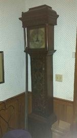 English antique Longcase clock from Kighly region in England.  Signed Liam Longfran.