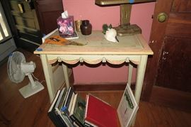 Hand painted faux skirted table!