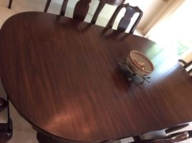 Henkel Harris, Virginia Galleries, Dining Room Table with 6 chairs, pads & leaves, mint condition