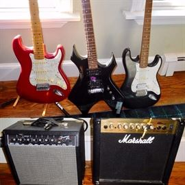 Fender and other electric guitars and amps