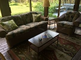beautiful wicker sunroom furniture-couch, chair, end table and coffee table