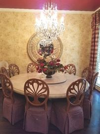 Gorgeous round dining room table and chairs