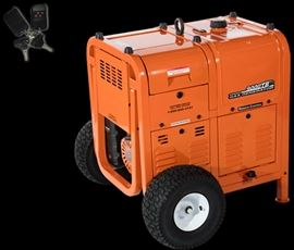 Retails New For $6770 Universal Power 9000TB Gas Powered Industrial Generator Approx. Run Time: 24 Hrs. @ 50% Load With Remote Electric Start, Locking Tool Box & Wheel Kit - New Never Used Still In Original Packaging With Warranty!