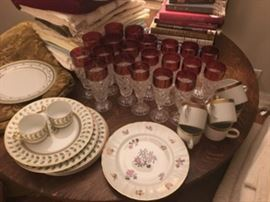 Gorgeous cut crystal heavy glasses, Bernadaud and Limoge china (PRE-SELLING CONTACT AMCNEILL@HUSH.COM)