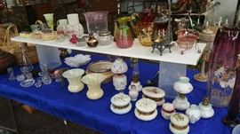 Great collection of Victorian glassware...Wave Crest...Mount Washingtion..Amberina..Stevens and Williams...Findlay Onyx..Steuben...Galle...Loetz...MORE