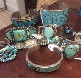 Navaho sterling and turquoise cuffs etc...signed, known artisans