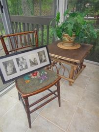 Bent twig end table, needlepoint chair,