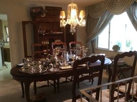 Dining set and silver and silver plate serving pieces