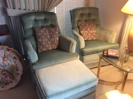 Sea foam green velvet chairs and ottoman