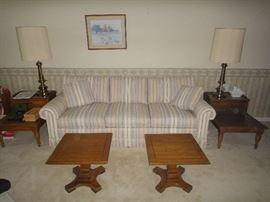 Sofa w/ vintage end tables, lamps