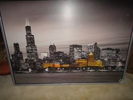 Large painting of Chicago skyline
