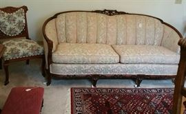 Victorian settee and chair.