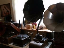 """Question mark horn is on an Edison """"Fireside"""" phonograph 4- minute"""