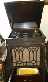 Edison Disc Phonograph in floor cabinet