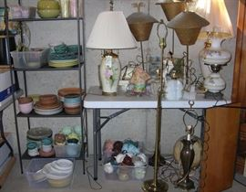 Lamps and Russel Wright mid-century modern dinnerware. Tons of it. Can't fo wrong with Russel Wright!