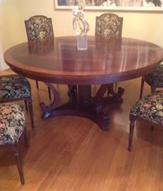 Theodore Alexander Regency style banded mahogany round dining table with leaves, set of 8 Louis XVI style dining chairs, Saguso sculpture