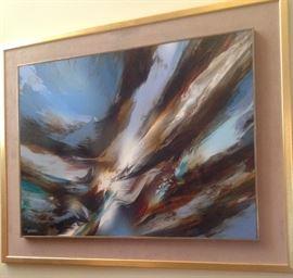 """Leonardo Nierman acrylic on canvas, 23 1/2"""" x 31 1/2"""" canvas,   31 1/2"""" x 39 3/4"""" overall"""