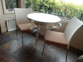 Silverleaf goat-leg table; pair of side chairs
