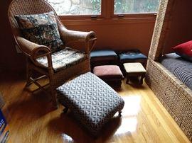 Rattan armchair; antique gout bench