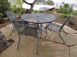 Vintage Woodard 5-piece cast iron patio set