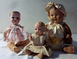 Antique German Bisque Doll + American Composition Dolls