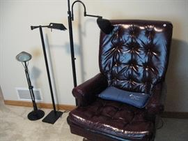Leather chair and Floor lamps