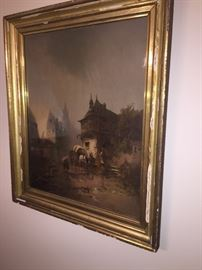 beautiful OLD framed print with original wavy glass