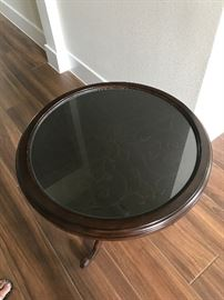 Bernhardt round side table with glass top