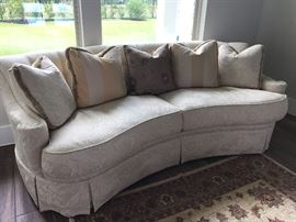 Thomasville ivory sofa with cushions.