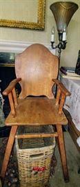 antique wooden high chair & beautiful floor lamp     LIVING ROOM