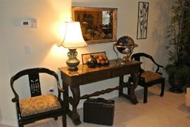 Japanese Horseshoe Chairs - Marble Top Entry Table - Blue Cloisonne Lamp - Globe made of Stone - Mirror