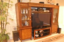 "Tommy Bahama Style Flat Screen Entertainment Center w/ Display Cases - 58"" Samsung TV"