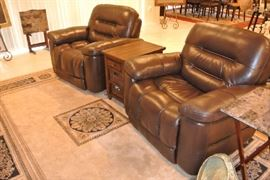 Brown Leather Power Reclining Chairs - (4) Large Area Rugs