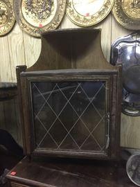 Vintage etched glass corner piece