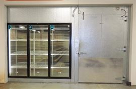 Walk In Cooler / Freezer Complex, Overall: 10'H x 98'L x 35'D, Includes 4 - 5' Traffic Doors, 12 Glass Display Doors, 2-2 Fan Bohn Evaps, 2-4 Fan Bohn Evaps