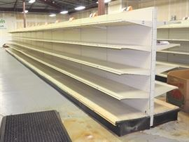 "Double Sided Pressed Metal Retail Shelving, 78""H x 56'2""W x 48""D, Shelves Approx 22.5""D"