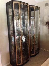 Beautiful matching Black Lacquer curio display cabinets each with dimmable lighting!