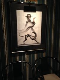 Erik Freyman Promenade serigraph above 2 black lacquered chairs! Chairs sold