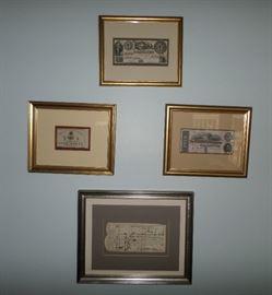 framed Confederate Money & Bond Receipt