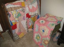 antique quilts, one on left is dated 1935