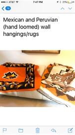 Mexican and Peruvian wall hangings and rugs