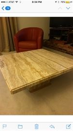 Solid Marble Cocktail Table / Beige Earth Tones