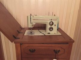 Sears Kenmore with cabinet and all accessories