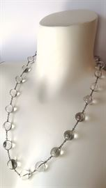"Stunning Art Deco 22 Orb ""Pools of Light"" Necklace (Rock Crystal/Quartz)"