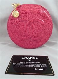 Authentic Vintage Chanel Red Caviar LeatherJewelry Case with Hologram Serial Sticker & Insert